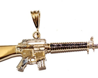 M-16 Assault Rifle Pendant with 22 inch Figaro Chain 18k Gold Plated Pendant -Rifle Pendant