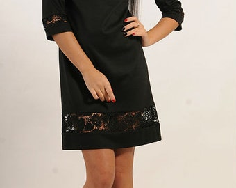 Elegant little black dress LBD Jersey Dress Fall Spring Combined dress Evening Guipure black dress Simple black dress