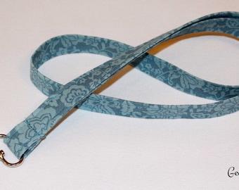 Teal Blue Fabric Lanyard, Blue Badge Holder