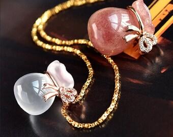 DIY  Strawberry/ Rose Quarts Pendant-WEN40826168943-GVN