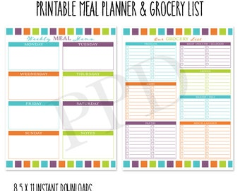 Printable Grocery List And Weekly Meal Planner, 8.5 X 11 Letter Size PDF  Pages,  Grocery List Organizer Template