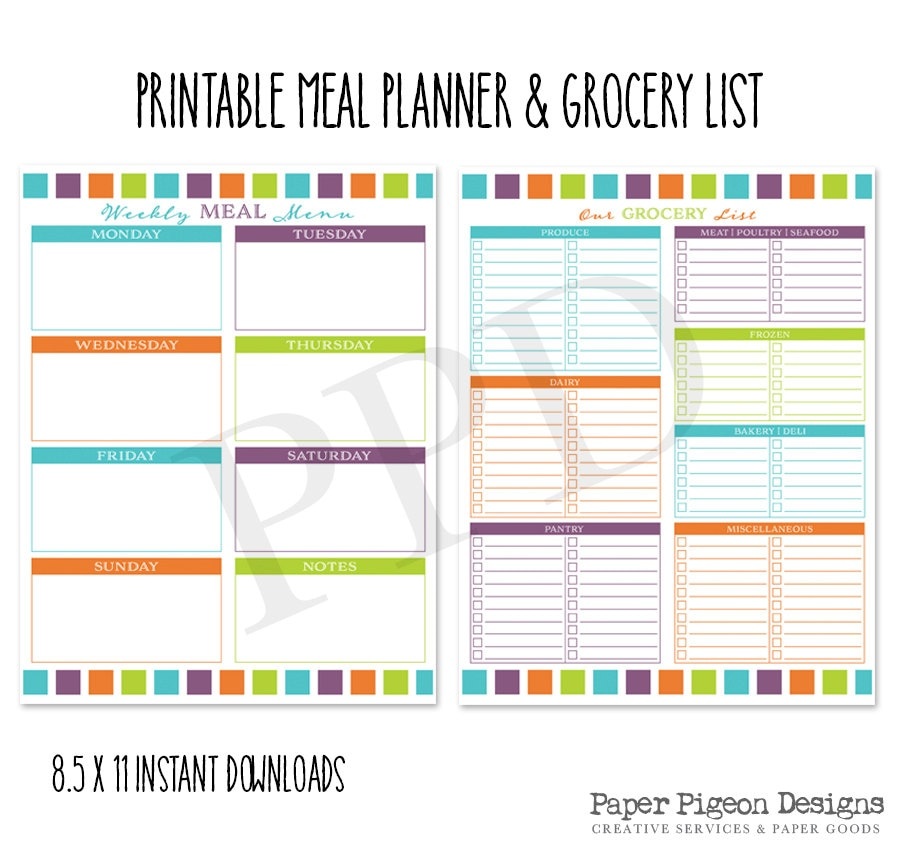 Printable Weekly Meal Planners: Printable Grocery List And Weekly Meal Planner 8.5 X 11
