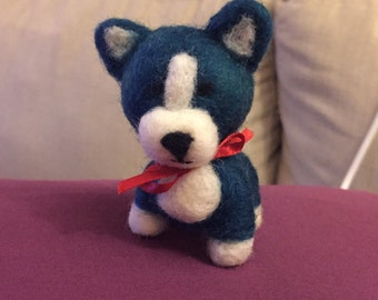 Needle Felted Dog with a Red Bow