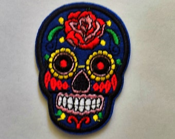Embroidered Sugar Skull Patch - Iron or Sew On Applique / Sew on Patch  - #SP-00009