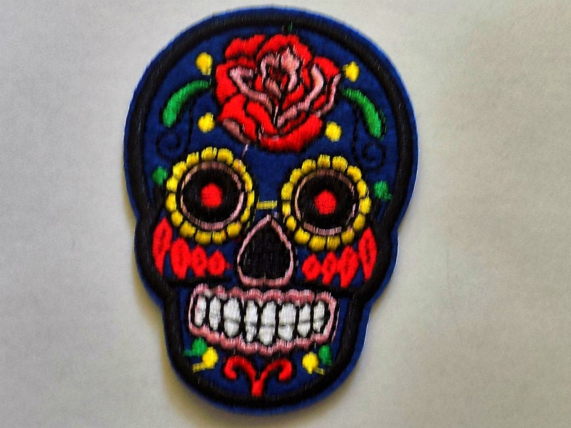 Embroidered Sugar Skull Patch Iron or Sew On Applique / Sew