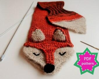 KNITTING PATTERN fox keyhole scarf - PDF pattern for kid's winter scarf Fantastic Fox - fun, soft, warm, cute and cuddly childrens scarf.