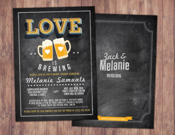 Coed bridal shower invitation Beer bridal shower invitation