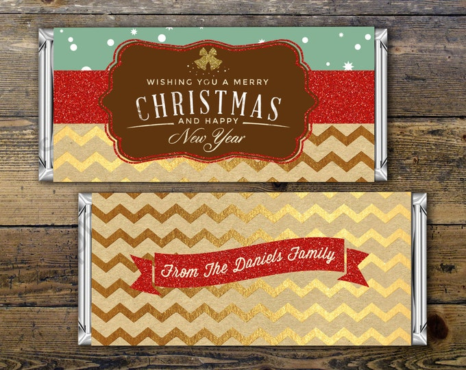 Holiday Candy Bar Wrapper, Printable Digital File,Candy Bar, teacher gift, party favor, gift, thank you, Ugly sweater party, cookie swap