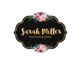 Premade logo design flower logo watercolor logo gold logo photography logo
