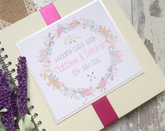 Floral Garland Handmade Large Wedding Guest Book, Scrapbook 70 Pages (140 sides) Personalised, Ribbon Colour Choice