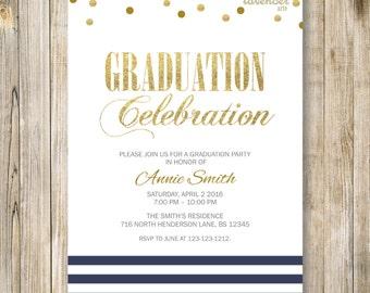 NAVY BLUE and White GRADUATION Celebration Invite, High School College Grad Invitation, Class of 2017, Nautical Beach Graduate Party