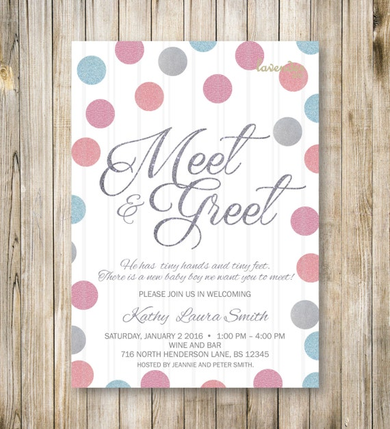 Meet And Greet Invitation Blue Pink Silver Meet The Baby