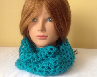 Teal Crocheted Cowl Scarf