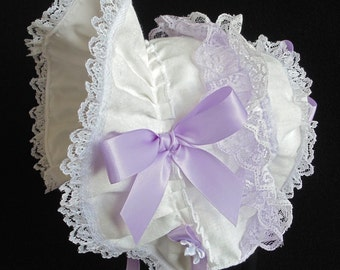 White Printed Cotton and Lace with Lavender Trim Easter Bonnet