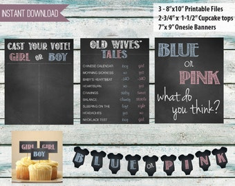"""Party Package - Baby gender reveal party decorations - 3, 8"""" x 10"""" signs, Old wives tales, onesie Banner, Cupcake Toppers - INSTANT DOWNLOAD"""