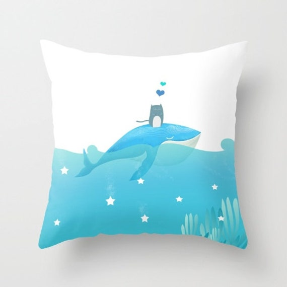 whale decorative pillow nautical blue white small medium large