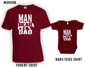 Man Bear Dad & Man Bear Cub Matching Father Child Shirts, Funny Matching Fathers Day Shirts, Baby Shower Gift, Dad Shirt Bodysuit CT-365-366