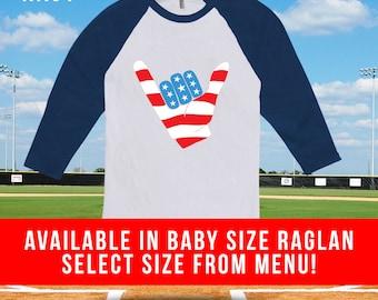 Fourth of July Hang 10 Raglan baseball tee, kids fourth of july, baseball tshirt for men women, 4th of july, american flag, july 4th-CT-485