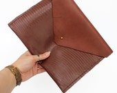 SALE!  Large Leather Clutch BagiPad Case  Handmade in England  Deep Tan