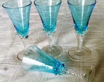 Four Azure Blue Glass Czech Style Cordials with Clear Glass Applied Twisted Stems