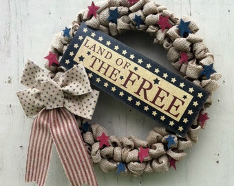 Patriotic Décor, Fourth of July, Patriotic Wreath, Burlap, Wreath, Land of the Free, Red White Blue, Memorial Day, Summer Decor, July 4th