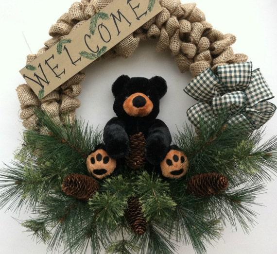 Cabin Decor Bear Decor Rustic Wreath Lodge By