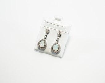 Dangling Teardrop-Shaped Lab Created Opal Earrings