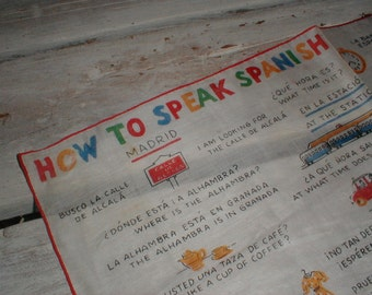 Vintage Cotton Hankie *How To Speak Spanish* Whimsical Graphics *Colorful*