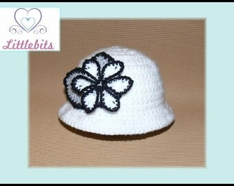 Littlebits Newborn Baby Crocheted White Brimmed Hat with Flower n Leaf Embellishments -  Handcrafted in Australia RTS