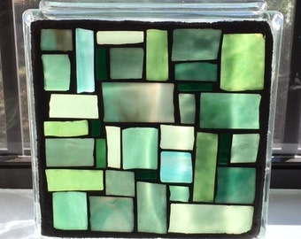Stained Glass Mosaic on Glass Block/Abstract/Green/ Night Light/ Glass on Glass/ Glass Block