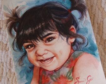 Custom Childs Watercolor Portrait 8x10 - Head and Shoulders