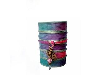 Silk wrap bracelet with key charm