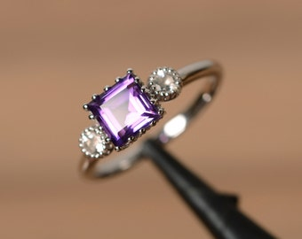 purple amethyst ring silver February birthstone ring square cut natural amethyst ring engagement ring anniversary ring for her