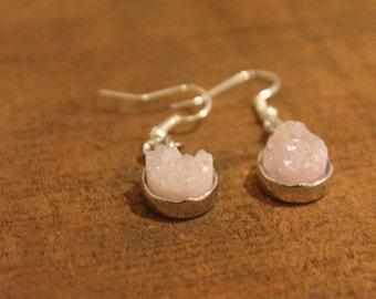 Rose Quartz Druzy Drop Earrings