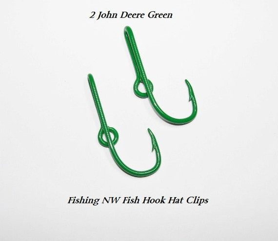 2 john deere green colored fish hook hat clips pins by for Fish hook for hat