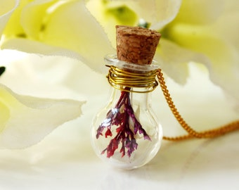 Bottle / necklace / red / Natural Dried Flower, Light Bulb Pendant, Real Flower Necklace, Cool Necklace, gift for her, Terrarium Necklace