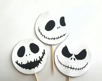 Nightmare Before Christmas Jack Skellington Cupcake Toppers Cutouts 6pc or 12 Pc