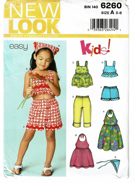 New look pattern 6260 girls dress top shorts capri pants and scarf