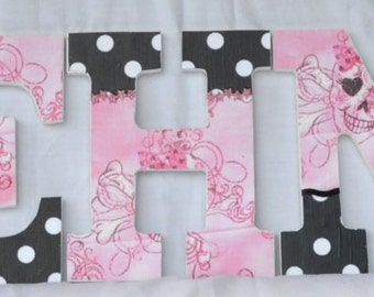Pink Skull and Cross Bones Wood Letters