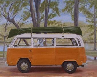 Orange Volkswagen Bus or Van
