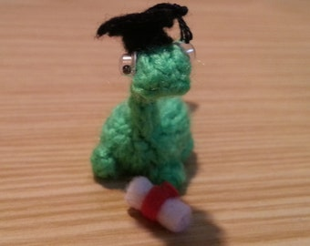 Graduation Miniature Dinosaur - Handmade - Knitted - Green - Graduation Gift - Gift - For Her - For Him - Adults - Teens - Unusual - Cute
