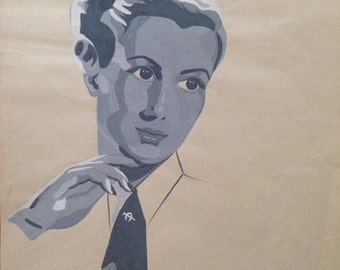 Vintage Woman in Tie Portrait Acrylic Painting