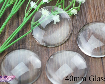 40mm Round Clear Glass - Pendant Glass Cabochon - Magnifying Glass Circle Crystal Clear Round Dome Cabochon - Transparent Glass Cover
