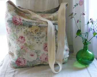 Gracie Floral Vintage Sanderson Fabric Bag Craft Knitting Carry All
