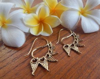 Brass Earrings with Wing Design, Earrings with wings, Bohemian Jewelry, Gypsy Earrings