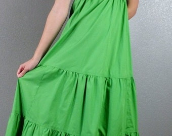 On Sale Vintage 70's 1970's Green Eyelet Ruffled Bottom Hippie Boho Maxi Prairie Sun Dress Empire waist XXS