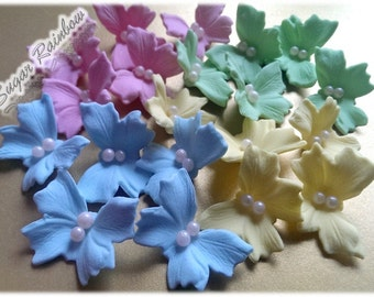 20 Edible sugar butterflies decorations for  cake cupcake toppers pink blue green yellow pastel colours