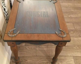 Furniture Wood Refinished Table Cowgirl Western Country Equestrian Horse - SOLD