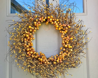 Autumn, Fall, Thanksgiving mixed yellow and mustard large and pip berry grapevine sunburst wreath, rustic, primitive