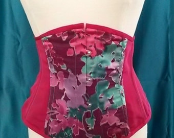 Fuchsia & Turquoise Silk Wasp Waisted Underbust Corset with Spoon Busk
